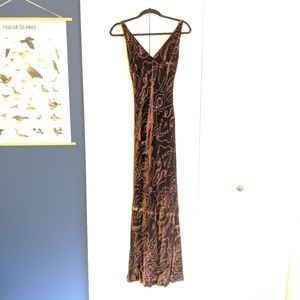 Ralph Lauren Brown Velvet Paisley Gown